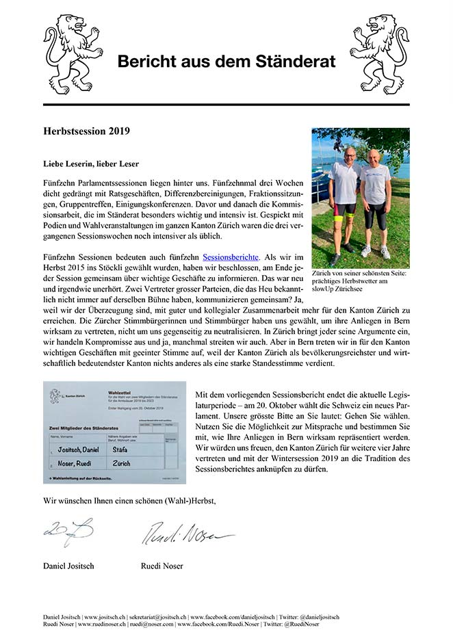 Newsletter Herbstsession 2019