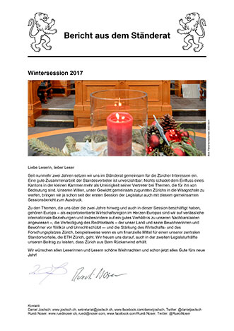 Newsletter Wintersession 2017