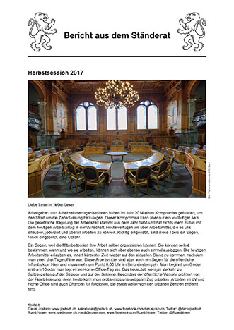 Newsletter Herbstsession 2017