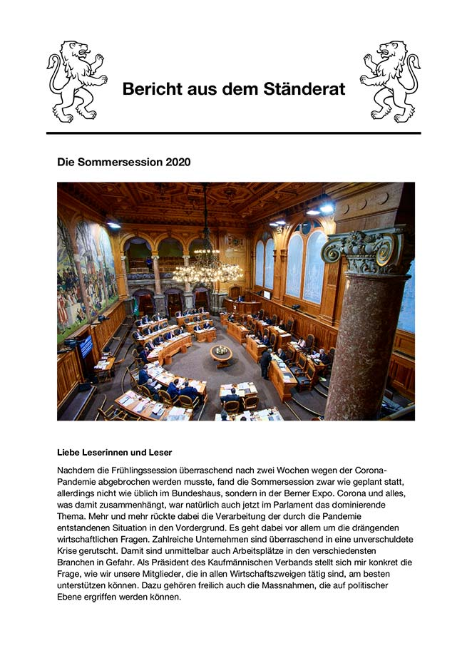 Newsletter Sommersession 2020