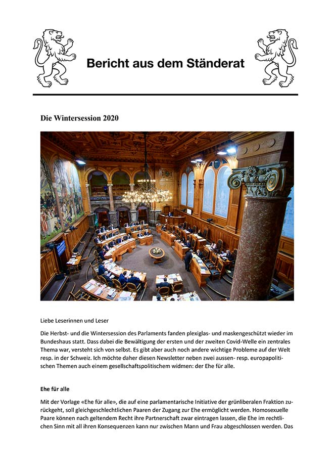 Newsletter Wintersession 2020